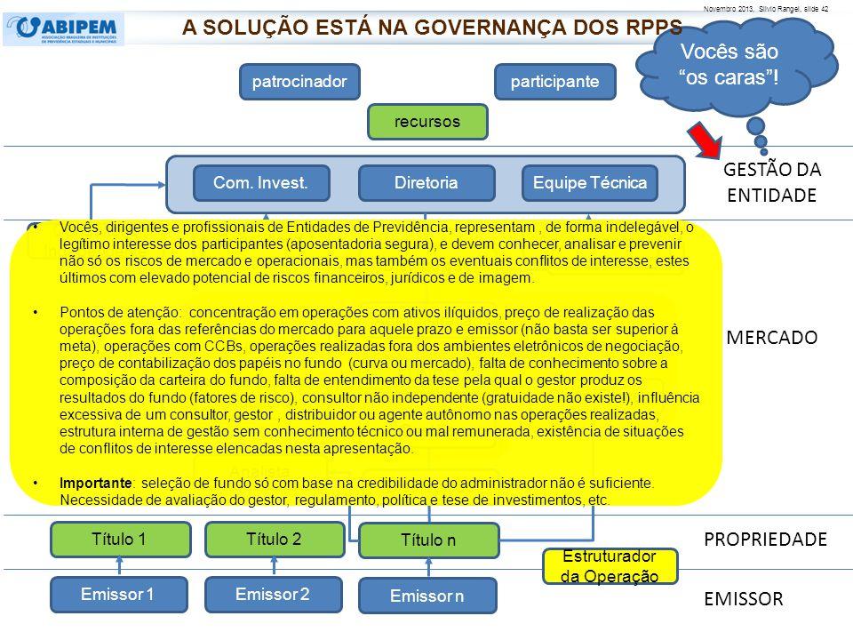 Novembro 2013, Silvio Rangel, slide 43 R ELACIONAMENTO COM O M ERCADO Riscos: todo produto financeiro tem algum risco.