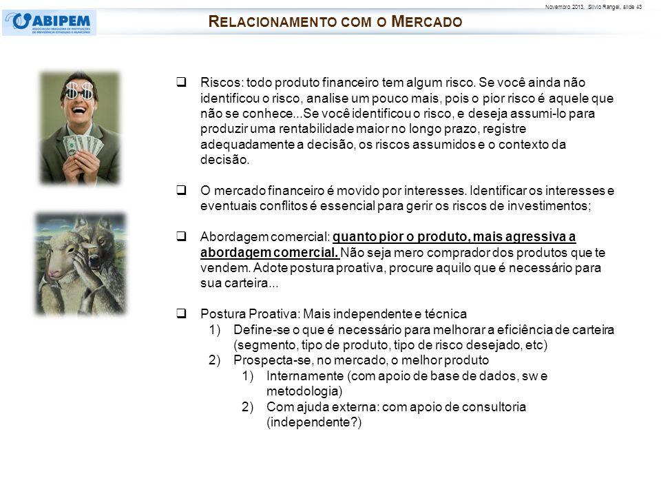 Novembro 2013, Silvio Rangel, slide 43 R ELACIONAMENTO COM O M ERCADO Riscos: todo produto financeiro tem algum risco. Se você ainda não identificou o