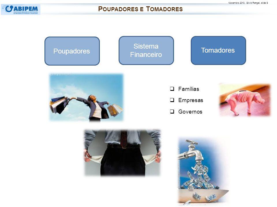 Novembro 2013, Silvio Rangel, slide 9 Famílias Empresas Governos Poupadores Tomadores Sistema Financeiro P OUPADORES E T OMADORES