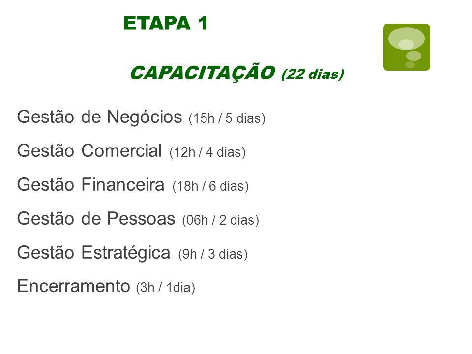 ETAPA 1 Gestão de Negócios (15h / 5 dias) Gestão Comercial (12h / 4 dias) Gestão Financeira (18h / 6 dias) Gestão de Pessoas (06h / 2 dias) Gestão Estratégica (9h / 3 dias) Encerramento (3h / 1dia) CAPACITAÇÃO (22 dias)