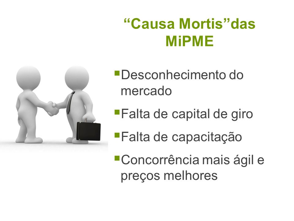 Causa Mortisdas MiPME Desconhecimento do mercado Falta de capital de giro Falta de capacitação Concorrência mais ágil e preços melhores