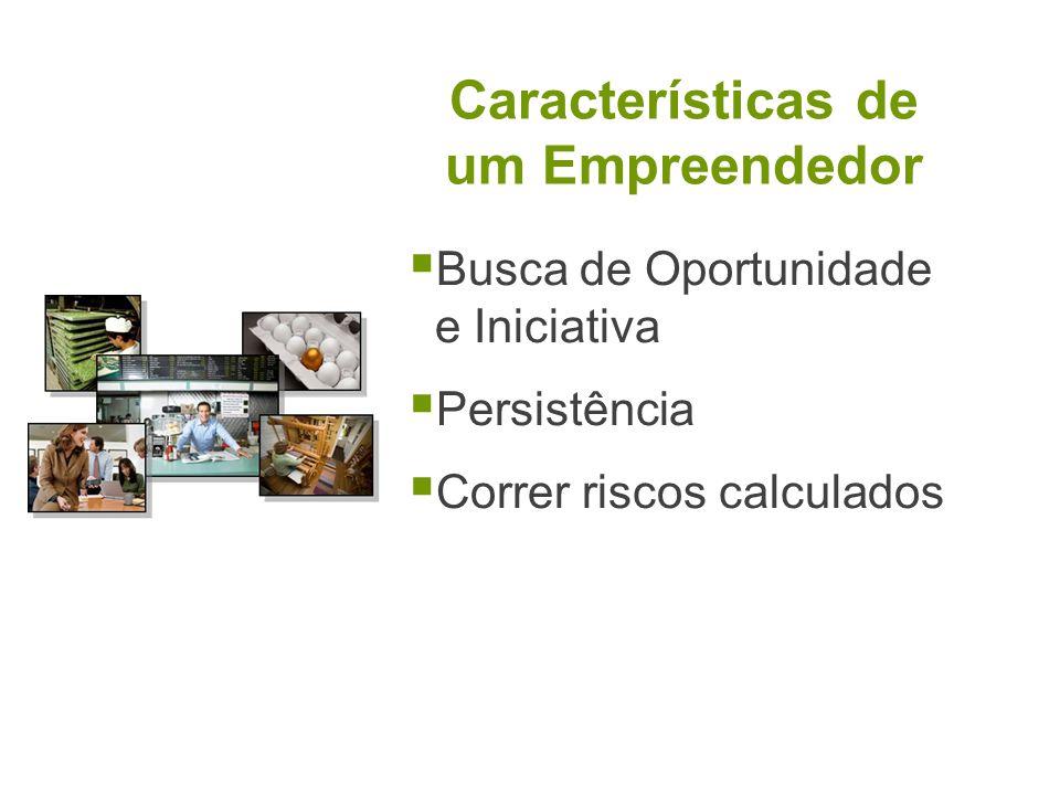 Características de um Empreendedor Busca de Oportunidade e Iniciativa Persistência Correr riscos calculados