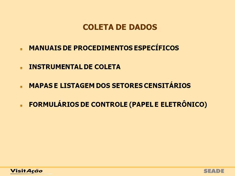 MANUAIS DE PROCEDIMENTOS ESPECÍFICOS INSTRUMENTAL DE COLETA MAPAS E LISTAGEM DOS SETORES CENSITÁRIOS FORMULÁRIOS DE CONTROLE (PAPEL E ELETRÔNICO) COLE
