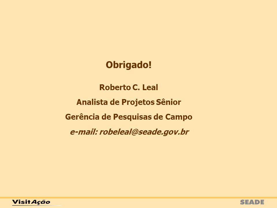 Obrigado! Roberto C. Leal Analista de Projetos Sênior Gerência de Pesquisas de Campo e-mail: robeleal@seade.gov.br
