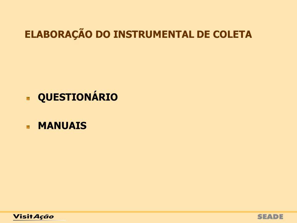 ELABORAÇÃO DO INSTRUMENTAL DE COLETA QUESTIONÁRIO MANUAIS