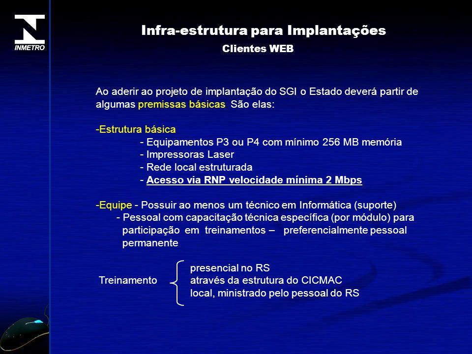 Ao aderir ao projeto de implantação do SGI o Estado deverá partir de algumas premissas básicas. São elas: -Estrutura básica - Equipamentos P3 ou P4 co