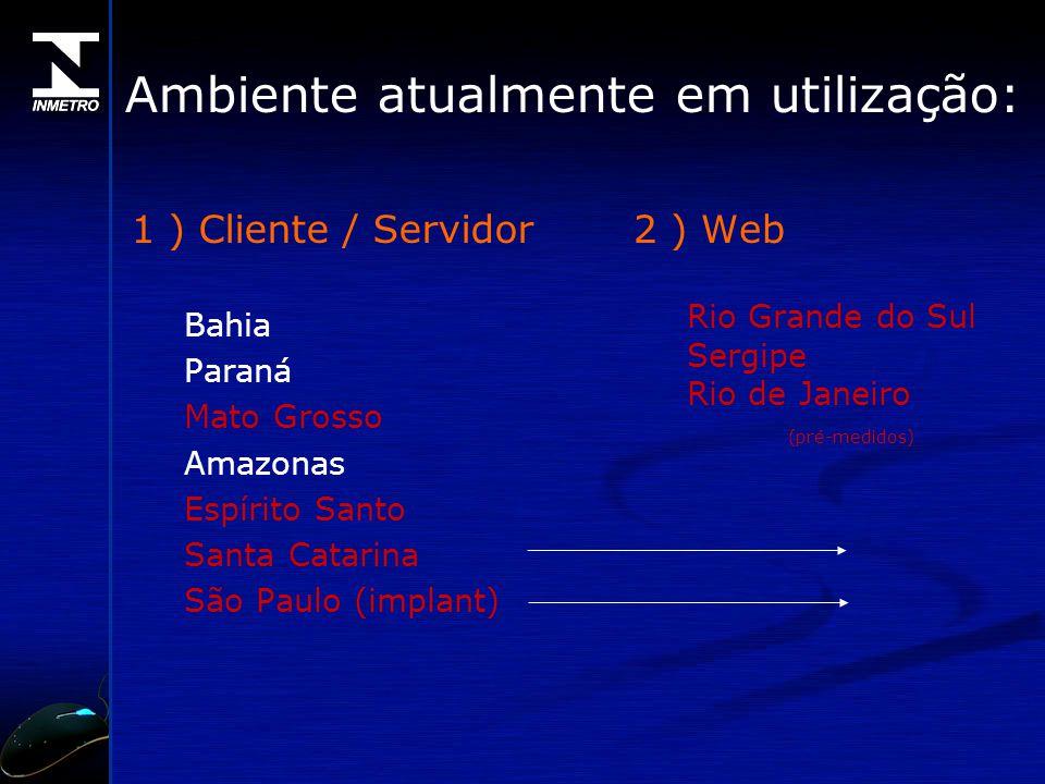 Ambiente atualmente em utilização: 1 ) Cliente / Servidor Bahia Paraná Mato Grosso Amazonas Espírito Santo Santa Catarina São Paulo (implant) 2 ) Web