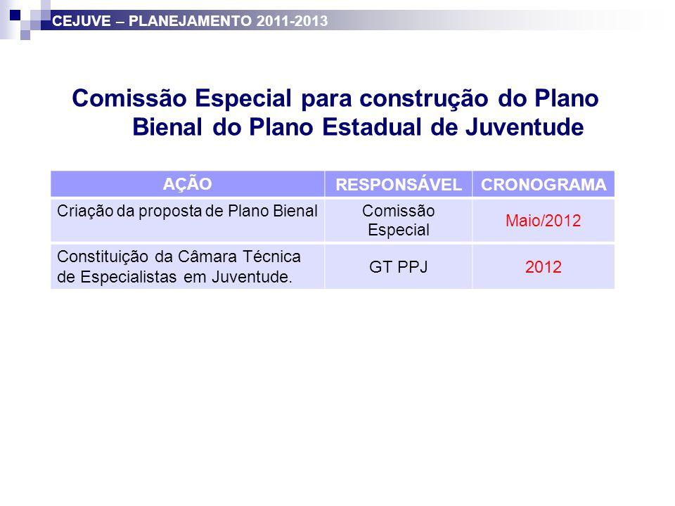 Comissão Especial para construção do Plano Bienal do Plano Estadual de Juventude AÇÃO RESPONSÁVELCRONOGRAMA Criação da proposta de Plano Bienal Comiss