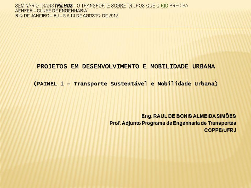 PROJETOS EM DESENVOLVIMENTO E MOBILIDADE URBANA (PAINEL 1 – Transporte Sustentável e Mobilidade Urbana) Eng. RAUL DE BONIS ALMEIDA SIMÕES Prof. Adjunt