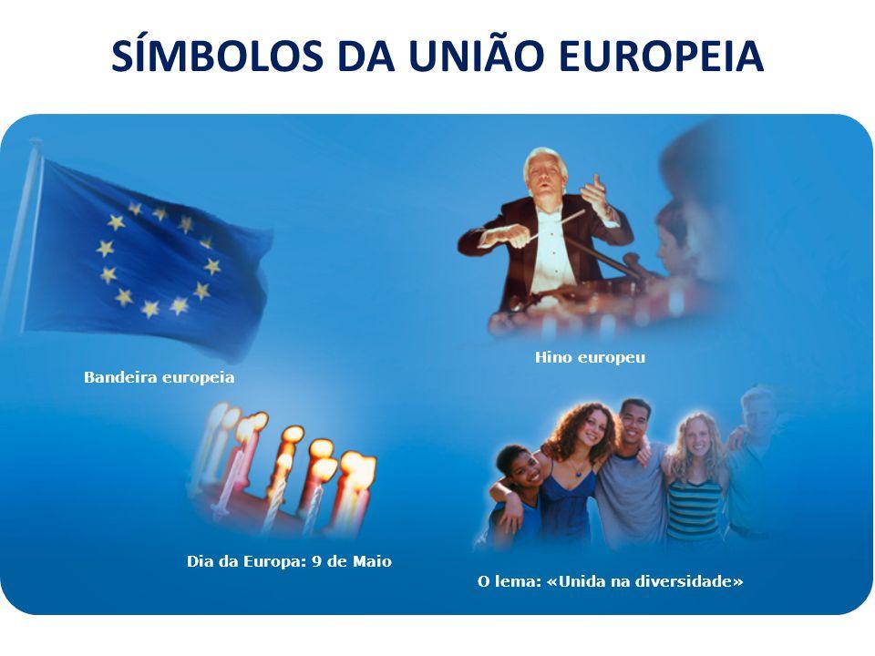 Bandeira europeia Hino europeu Dia da Europa: 9 de Maio O lema: «Unida na diversidade» SÍMBOLOS DA UNIÃO EUROPEIA