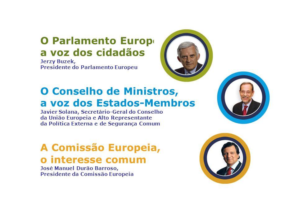 O Parlamento Europeu, a voz dos cidadãos Jerzy Buzek, Presidente do Parlamento Europeu O Conselho de Ministros, a voz dos Estados-Membros Javier Solan