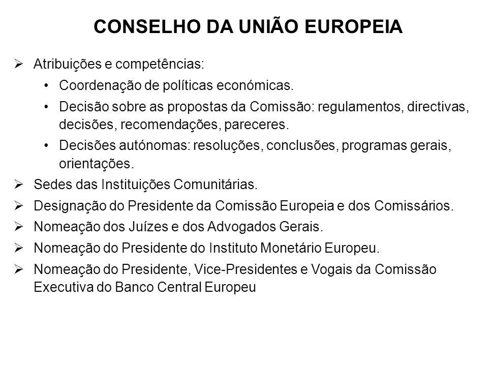 CONSELHO DA UNIÃO EUROPEIA Atribuições e competências: Coordenação de políticas económicas. Decisão sobre as propostas da Comissão: regulamentos, dire