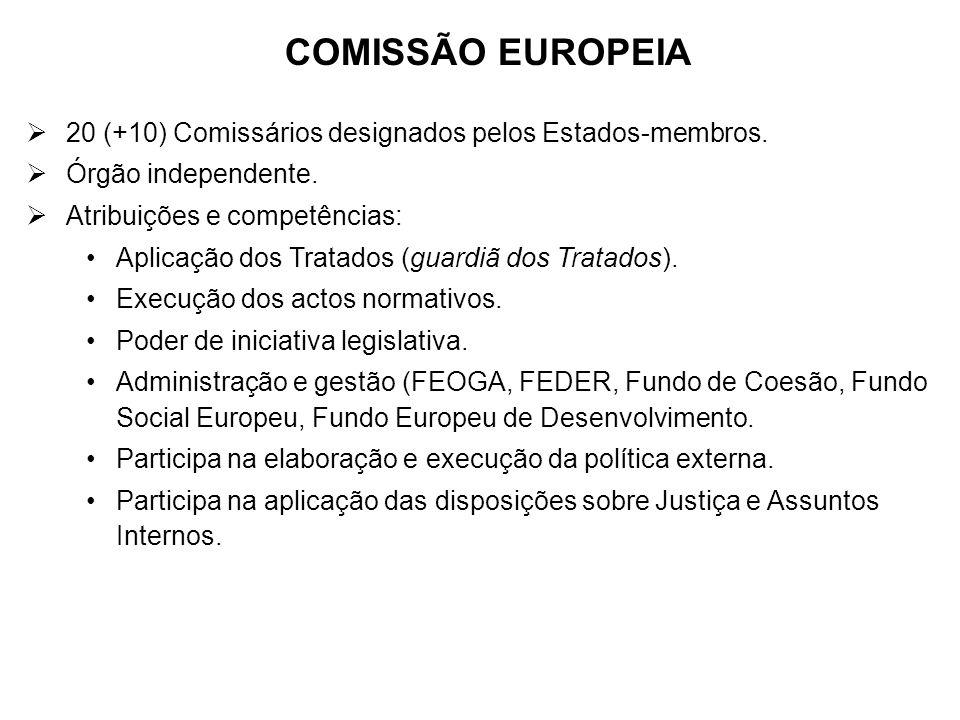 COMISSÃO EUROPEIA 20 (+10) Comissários designados pelos Estados-membros. Órgão independente. Atribuições e competências: Aplicação dos Tratados (guard