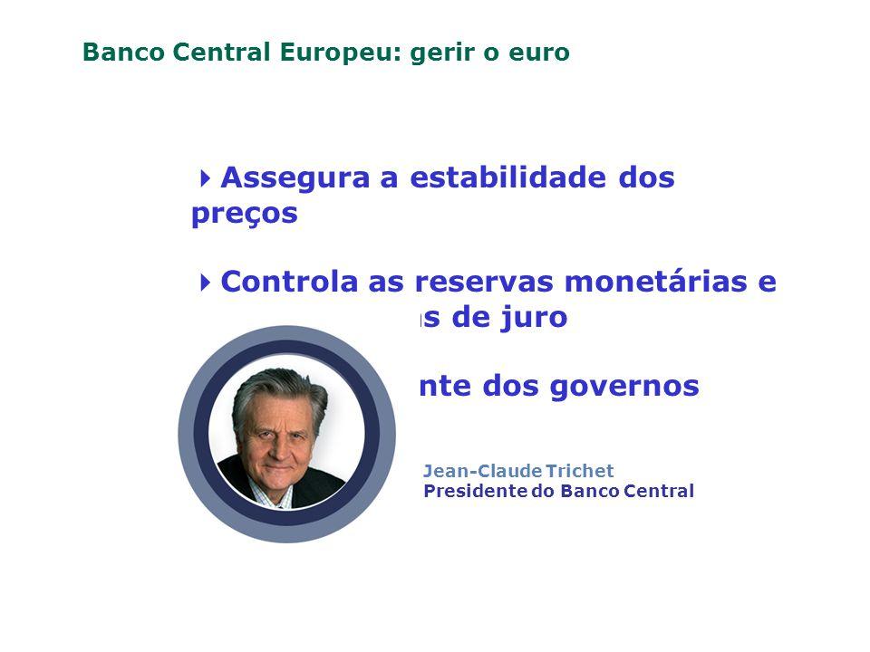 Assegura a estabilidade dos preços Controla as reservas monetárias e decide as taxas de juro É independente dos governos O Banco Central Europeu: gerir o euro Jean-Claude Trichet Presidente do Banco Central