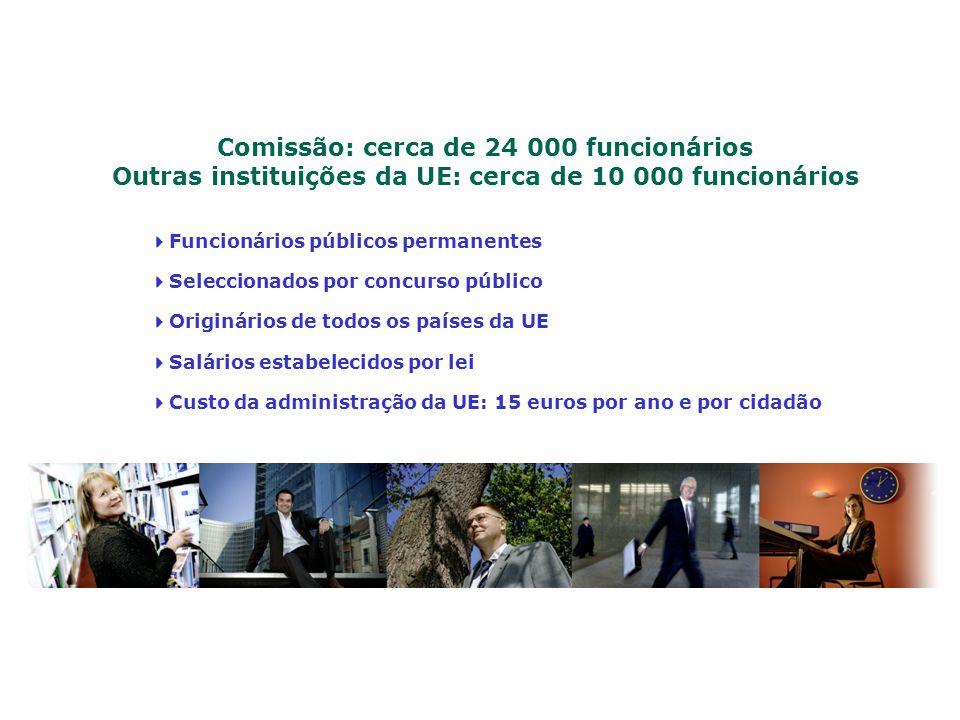 Comissão: cerca de 24 000 funcionários Outras instituições da UE: cerca de 10 000 funcionários Funcionários públicos permanentes Seleccionados por con