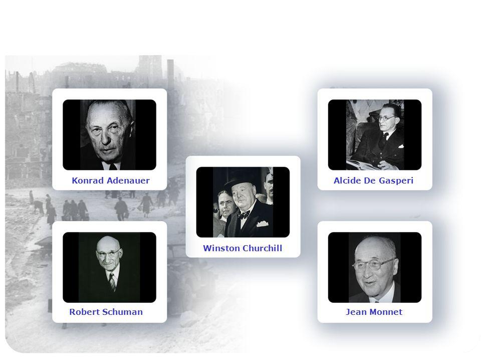 Konrad Adenauer Robert Schuman Winston Churchill Alcide De Gasperi Jean Monnet