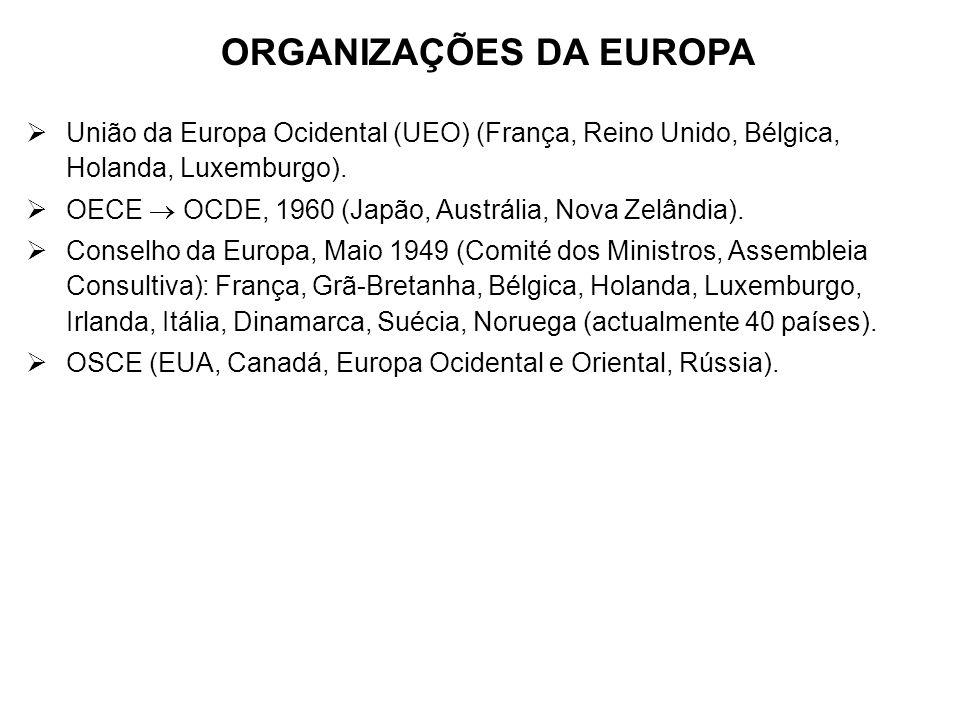 ORGANIZAÇÕES DA EUROPA União da Europa Ocidental (UEO) (França, Reino Unido, Bélgica, Holanda, Luxemburgo). OECE OCDE, 1960 (Japão, Austrália, Nova Ze