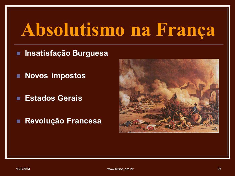 Absolutismo na França Insatisfação Burguesa Novos impostos Estados Gerais Revolução Francesa 16/6/201425www.nilson.pro.br