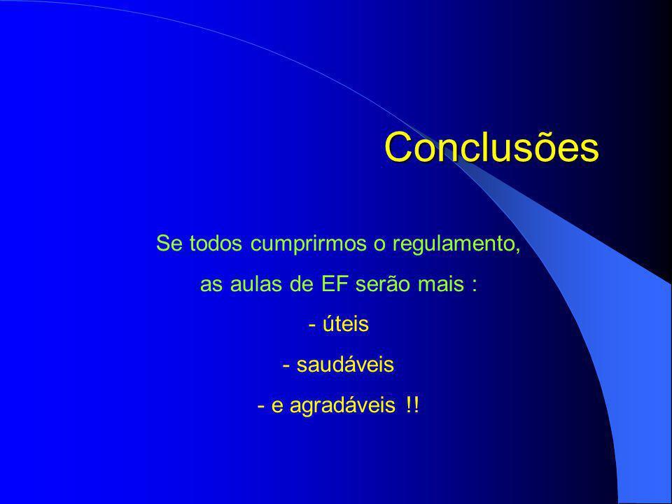 Conclusões Se todos cumprirmos o regulamento, as aulas de EF serão mais : - úteis - saudáveis - e agradáveis !!
