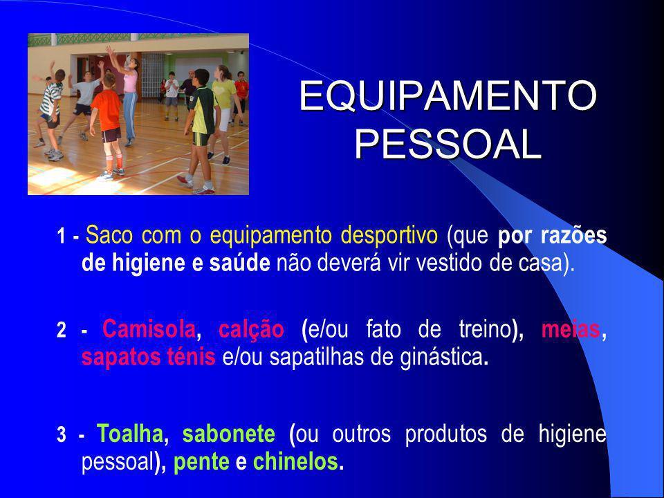 EQUIPAMENTO PESSOAL 1 - Saco com o equipamento desportivo (que por razões de higiene e saúde não deverá vir vestido de casa).