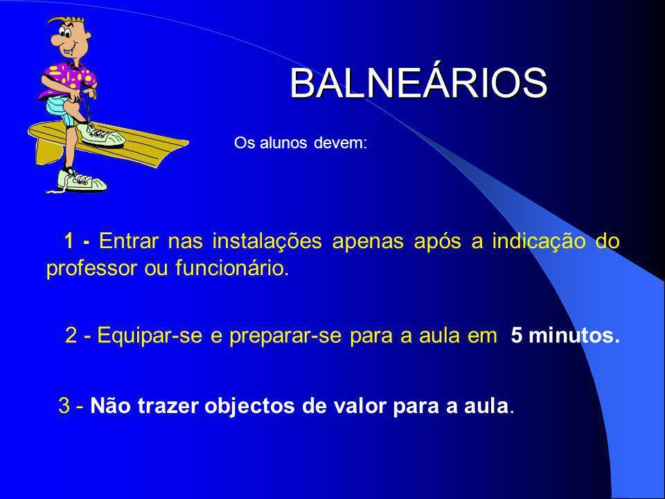 BALNEÁRIOS 1 - Entrar nas instalações apenas após a indicação do professor ou funcionário.
