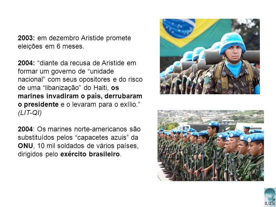 2003: em dezembro Aristide promete eleições em 6 meses. 2004: diante da recusa de Aristide em formar um governo de unidade nacional com seus opositore