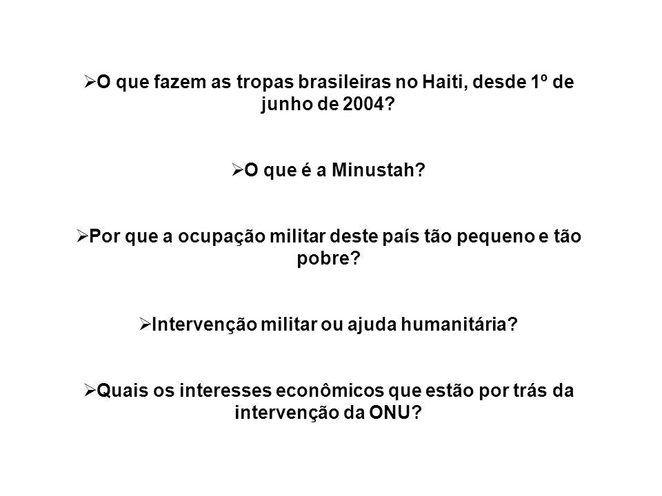 O que fazem as tropas brasileiras no Haiti, desde 1º de junho de 2004? O que é a Minustah? Por que a ocupação militar deste país tão pequeno e tão pob