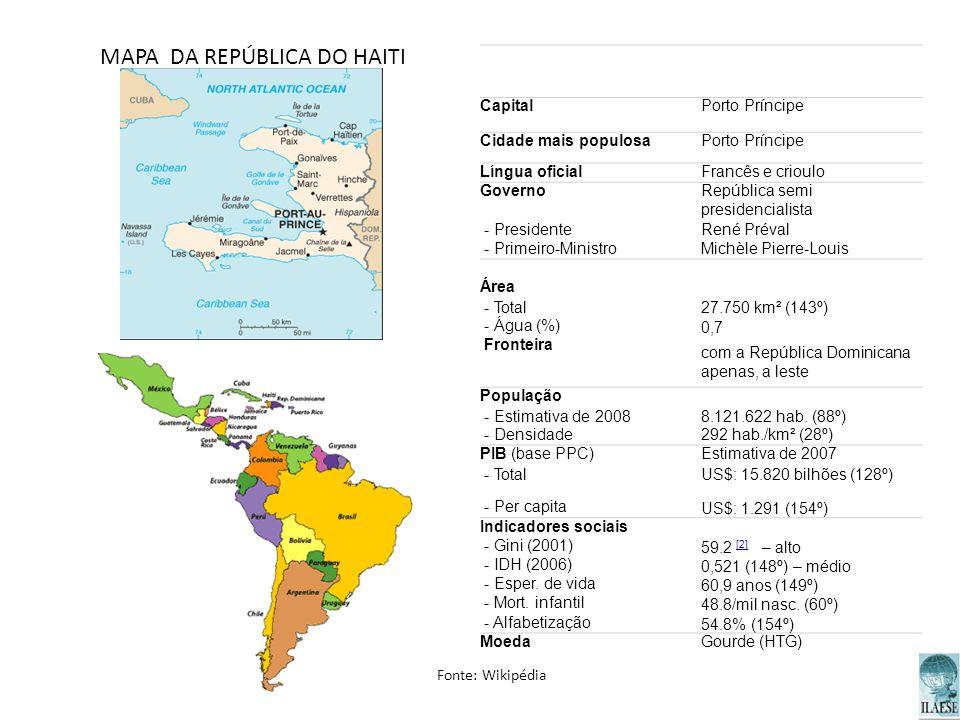 MAPA DA REPÚBLICA DO HAITI CapitalPorto Príncipe Cidade mais populosaPorto Príncipe Língua oficialFrancês e crioulo GovernoRepública semi presidencial