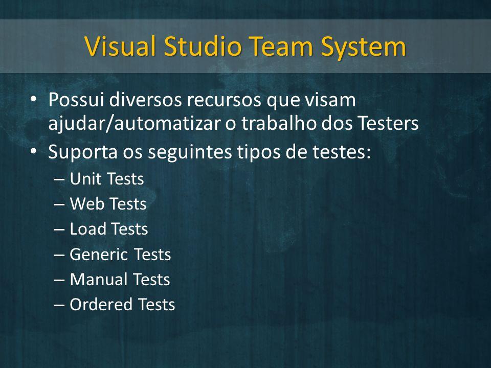 Visual Studio Team System Possui diversos recursos que visam ajudar/automatizar o trabalho dos Testers Suporta os seguintes tipos de testes: – Unit Te