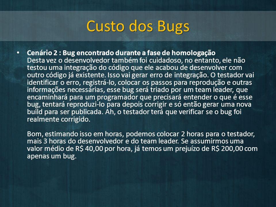 Custo dos Bugs Cenário 2 : Bug encontrado durante a fase de homologação Desta vez o desenvolvedor também foi cuidadoso, no entanto, ele não testou uma