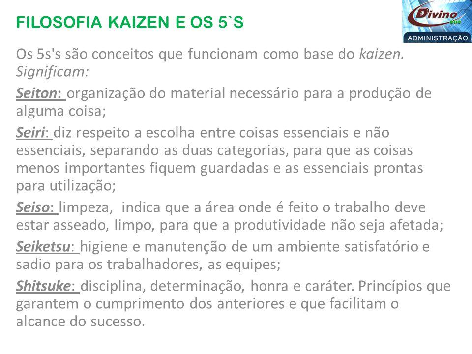 FILOSOFIA KAIZEN E OS 5`S Vídeo: http://www.youtube.com/watch?v=iTgdOpYuH24