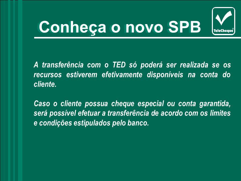 A transferência com o TED só poderá ser realizada se os recursos estiverem efetivamente disponíveis na conta do cliente.