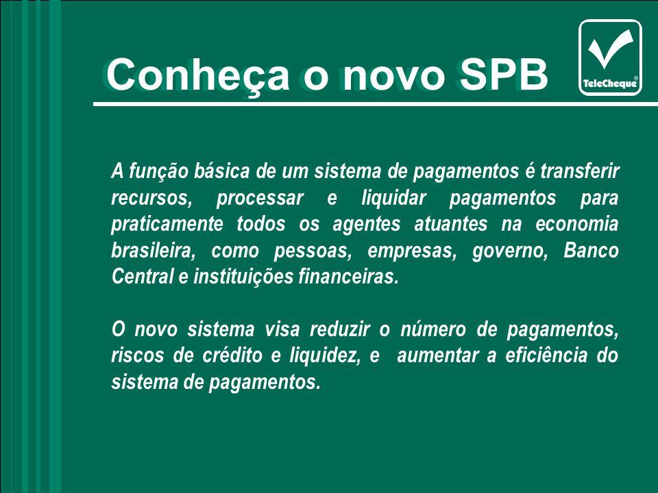 Conheça o novo SPB A função básica de um sistema de pagamentos é transferir recursos, processar e liquidar pagamentos para praticamente todos os agentes atuantes na economia brasileira, como pessoas, empresas, governo, Banco Central e instituições financeiras.