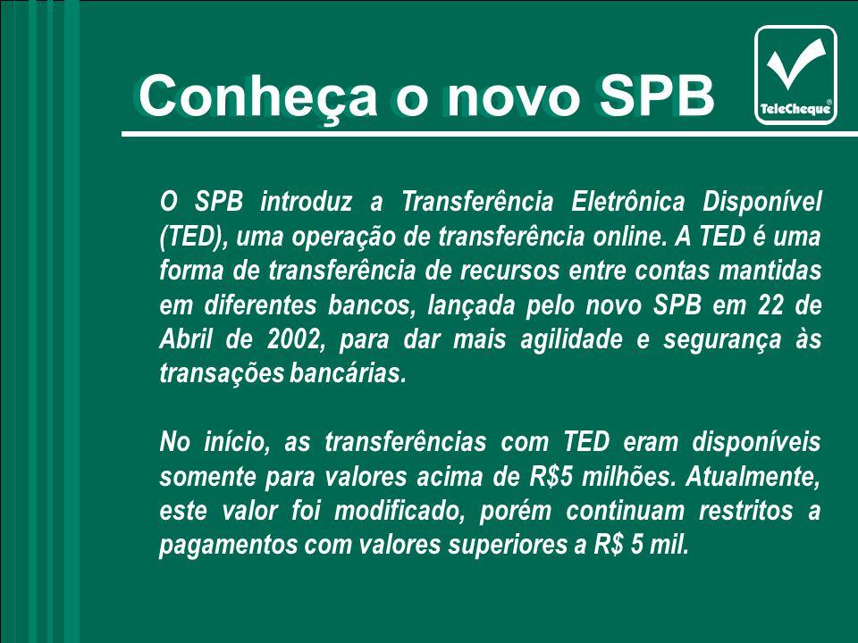 O SPB introduz a Transferência Eletrônica Disponível (TED), uma operação de transferência online.
