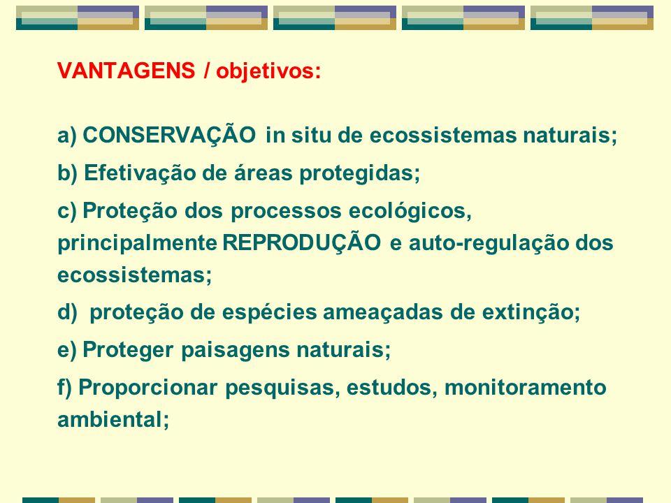 VANTAGENS / objetivos: a) CONSERVAÇÃO in situ de ecossistemas naturais; b) Efetivação de áreas protegidas; c) Proteção dos processos ecológicos, princ
