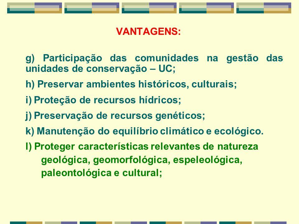 VANTAGENS: g) Participação das comunidades na gestão das unidades de conservação – UC; h) Preservar ambientes históricos, culturais; i) Proteção de re