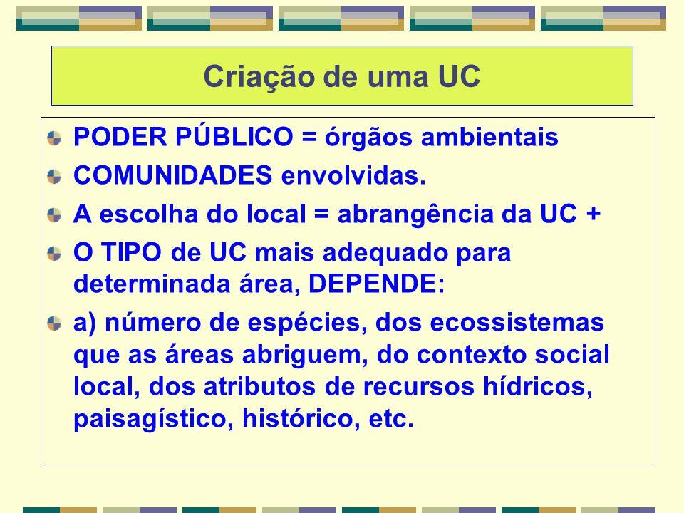 Criação de uma UC PODER PÚBLICO = órgãos ambientais COMUNIDADES envolvidas. A escolha do local = abrangência da UC + O TIPO de UC mais adequado para d