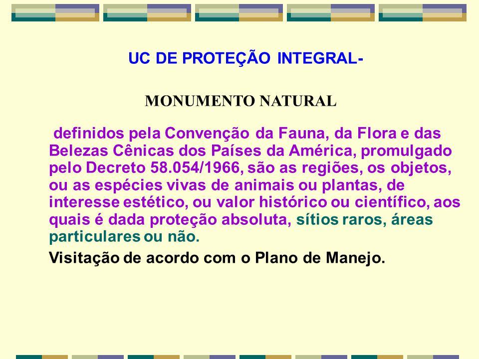 UC DE PROTEÇÃO INTEGRAL- MONUMENTO NATURAL definidos pela Convenção da Fauna, da Flora e das Belezas Cênicas dos Países da América, promulgado pelo De