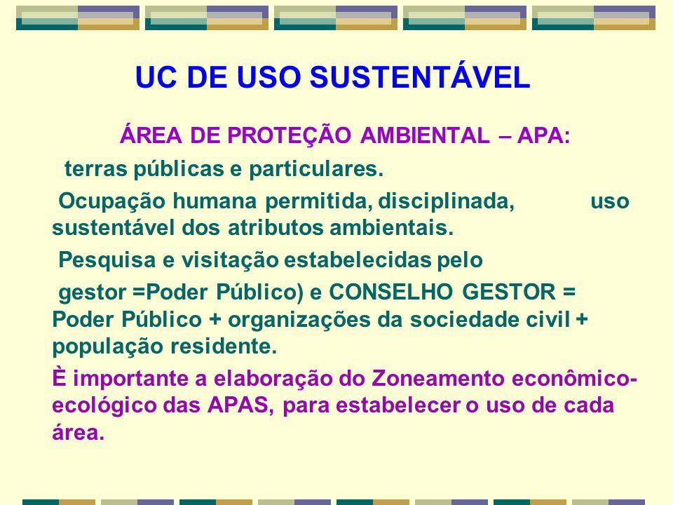 UC DE USO SUSTENTÁVEL ÁREA DE PROTEÇÃO AMBIENTAL – APA: terras públicas e particulares. Ocupação humana permitida, disciplinada, uso sustentável dos a