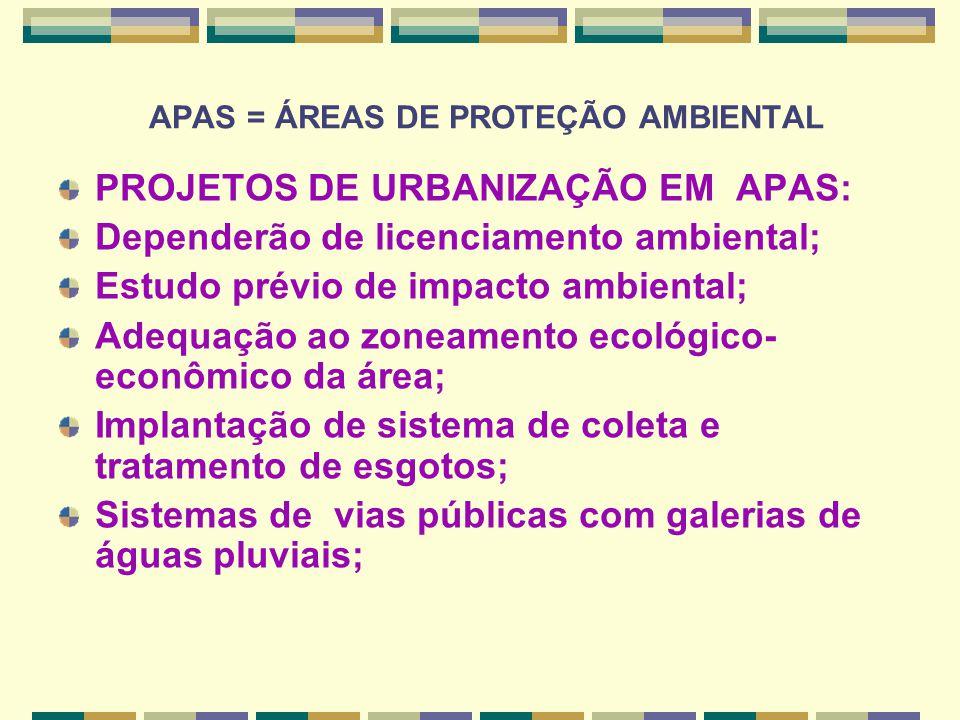 APAS = ÁREAS DE PROTEÇÃO AMBIENTAL PROJETOS DE URBANIZAÇÃO EM APAS: Dependerão de licenciamento ambiental; Estudo prévio de impacto ambiental; Adequaç