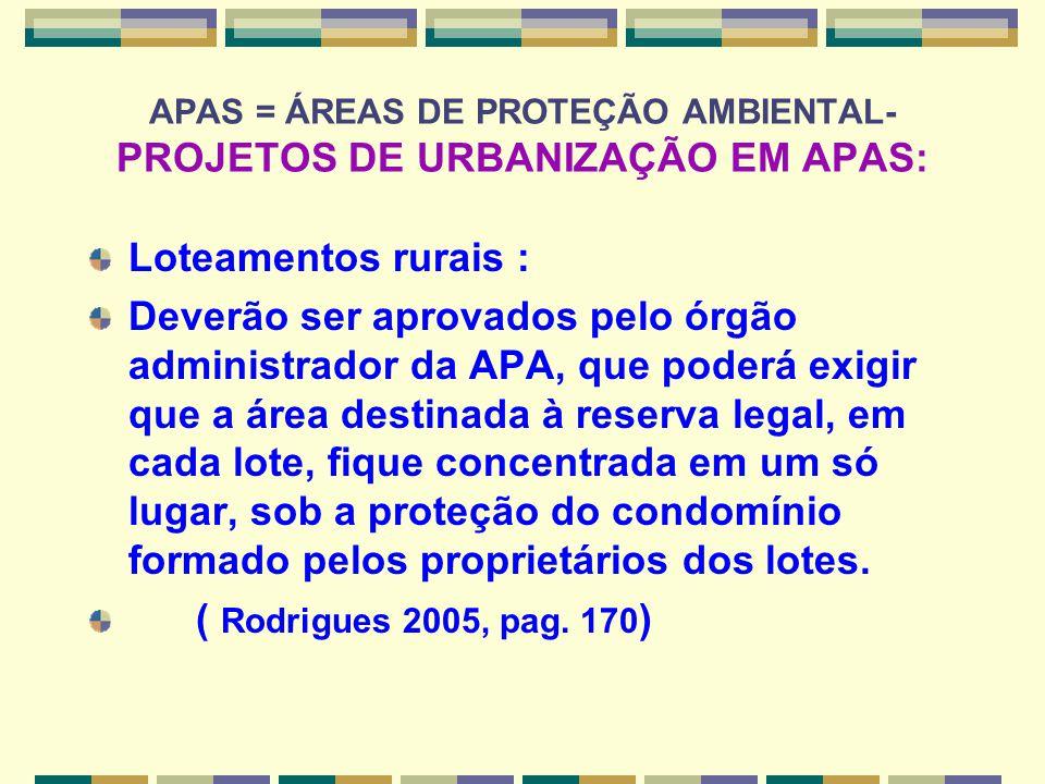 APAS = ÁREAS DE PROTEÇÃO AMBIENTAL- PROJETOS DE URBANIZAÇÃO EM APAS: Loteamentos rurais : Deverão ser aprovados pelo órgão administrador da APA, que p