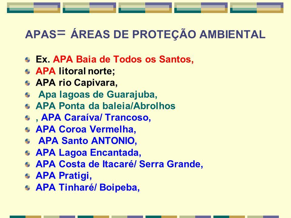 APAS = ÁREAS DE PROTEÇÃO AMBIENTAL Ex. APA Baia de Todos os Santos, APA litoral norte; APA rio Capivara, Apa lagoas de Guarajuba, APA Ponta da baleia/