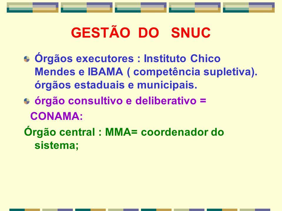 GESTÃO DO SNUC Órgãos executores : Instituto Chico Mendes e IBAMA ( competência supletiva). órgãos estaduais e municipais. órgão consultivo e delibera