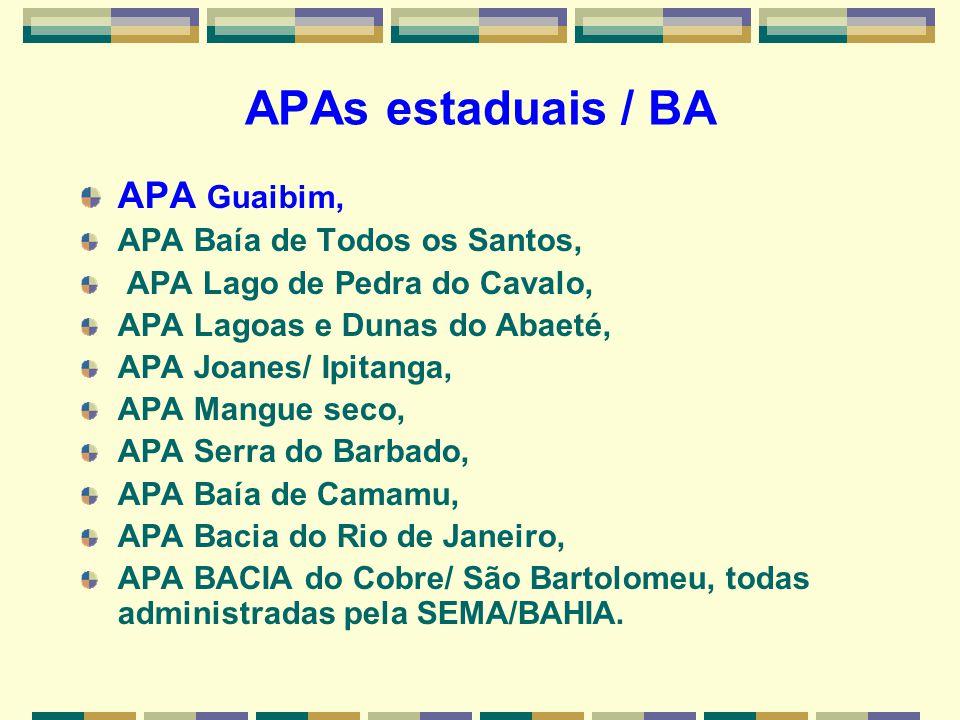 APAs estaduais / BA APA Guaibim, APA Baía de Todos os Santos, APA Lago de Pedra do Cavalo, APA Lagoas e Dunas do Abaeté, APA Joanes/ Ipitanga, APA Man