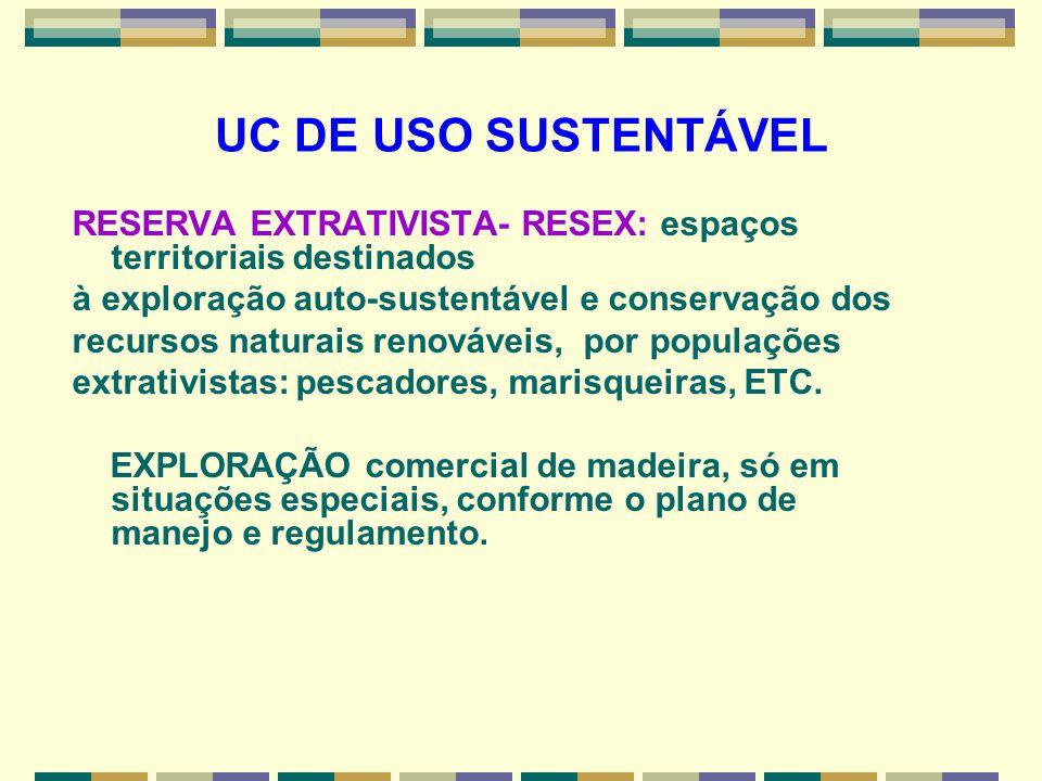 UC DE USO SUSTENTÁVEL RESERVA EXTRATIVISTA- RESEX: espaços territoriais destinados à exploração auto-sustentável e conservação dos recursos naturais r