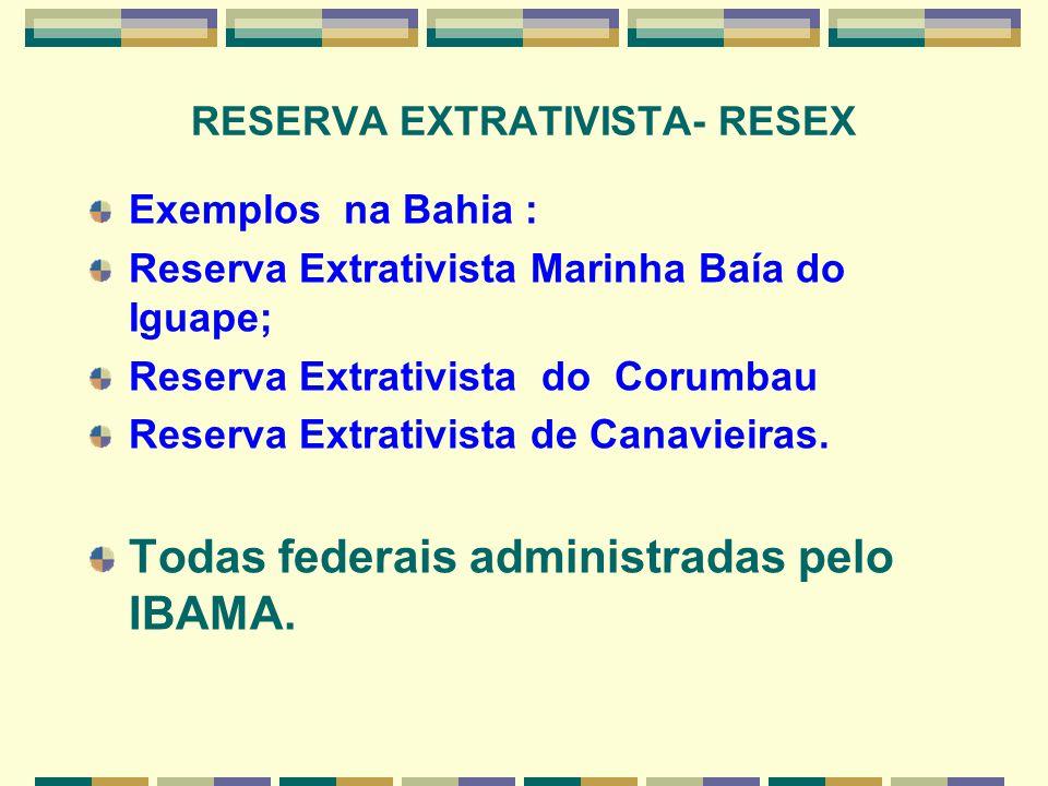 RESERVA EXTRATIVISTA- RESEX Exemplos na Bahia : Reserva Extrativista Marinha Baía do Iguape; Reserva Extrativista do Corumbau Reserva Extrativista de