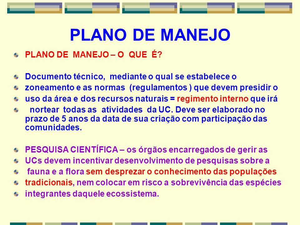 PLANO DE MANEJO PLANO DE MANEJO – O QUE É? Documento técnico, mediante o qual se estabelece o zoneamento e as normas (regulamentos ) que devem presidi