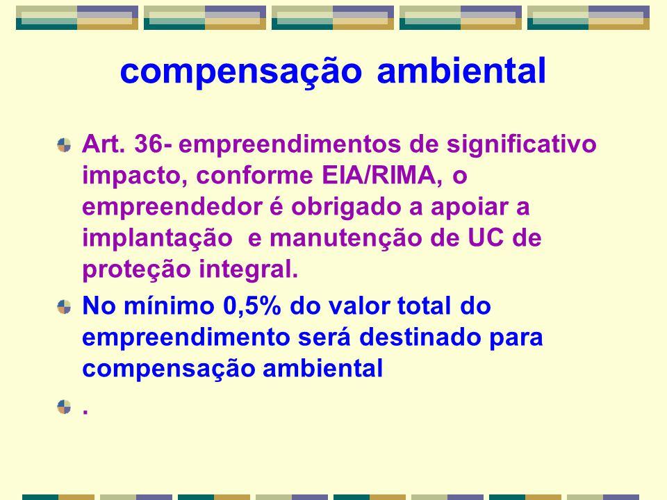 compensação ambiental Art. 36- empreendimentos de significativo impacto, conforme EIA/RIMA, o empreendedor é obrigado a apoiar a implantação e manuten