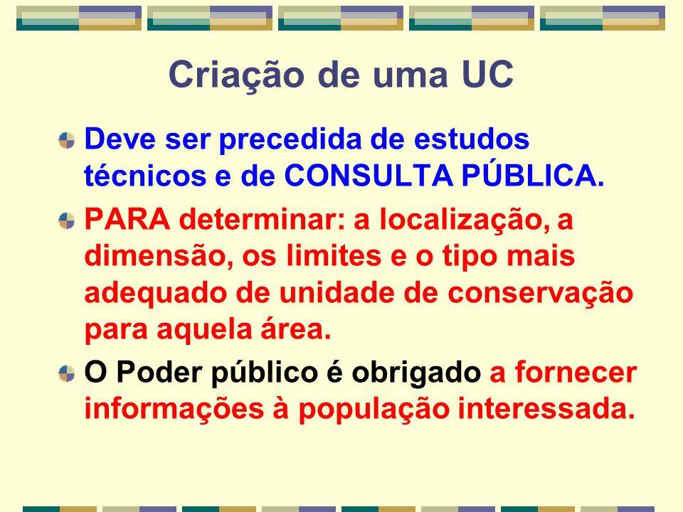 Criação de uma UC Deve ser precedida de estudos técnicos e de CONSULTA PÚBLICA. PARA determinar: a localização, a dimensão, os limites e o tipo mais a