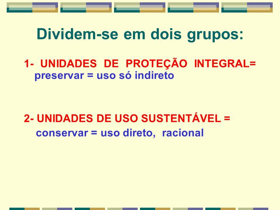 Dividem-se em dois grupos: 1- UNIDADES DE PROTEÇÃO INTEGRAL= preservar = uso só indireto 2- UNIDADES DE USO SUSTENTÁVEL = conservar = uso direto, raci